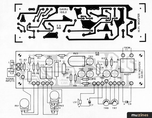 hi fi sub bass woofer emm mar  errata tr8 is shown as a pnp transistor in the wiring diagram it is in fact a npn device