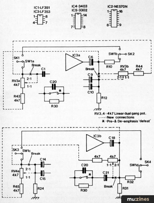 Noise Reduction Unit (EMM May 81) on audio clips, inverter schematics, relay schematics, audio mixer circuit, generator schematics, led schematics, audio circuit books, audio splitter circuit, audio amp schematic, audio circuit symbols, lm3914 schematics, radio schematics, audio circuit design,