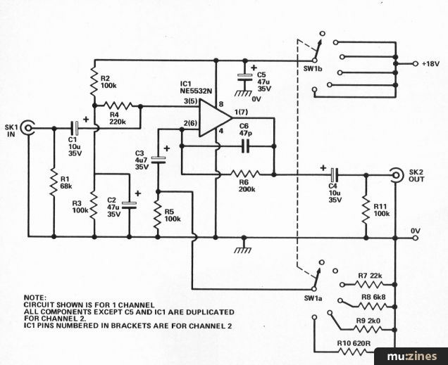 dual mic pre amp es apr 84 fig 1 circuit of one channel of the pre amp