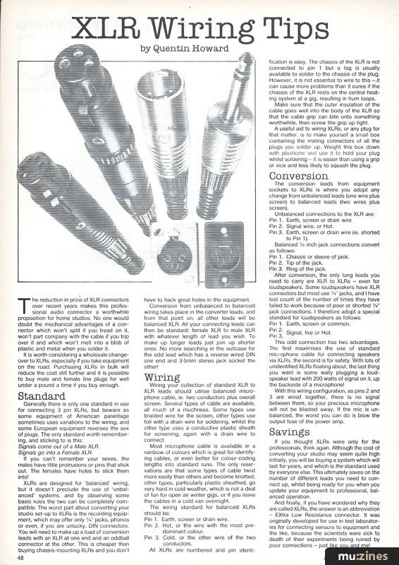 Xlr Wiring Tips  Hsr Aug 84