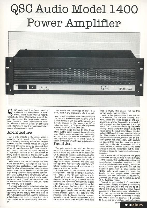 qsc audio model 1400 power amplifier hsr sep 84. Black Bedroom Furniture Sets. Home Design Ideas