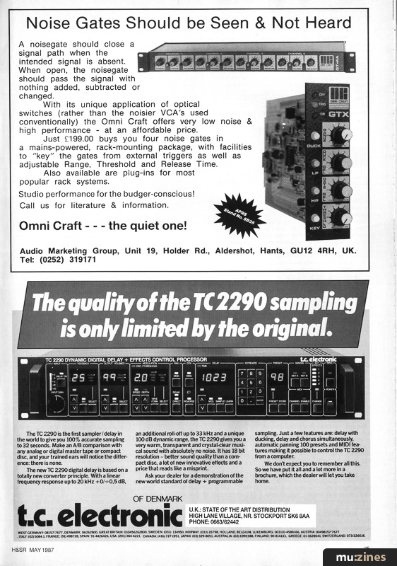 Ad - TC Electronics TC 2290 (HSR May 87)