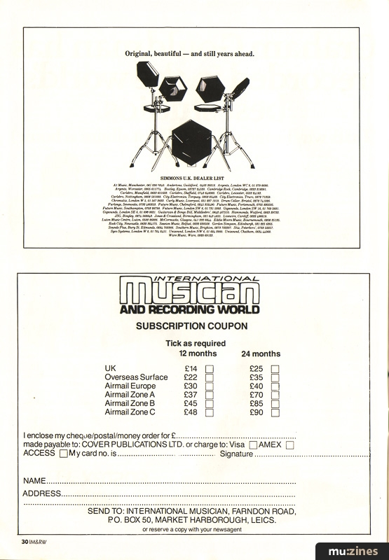 Ad - Drums (Electronic) (IM Feb 85)